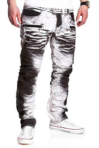 MT Styles Biker-Style Jeans Hose RJ-3121 [Weiß, W36/L34]
