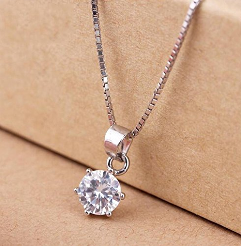 OUYANG S925 sterling silver diamond pendant necklace