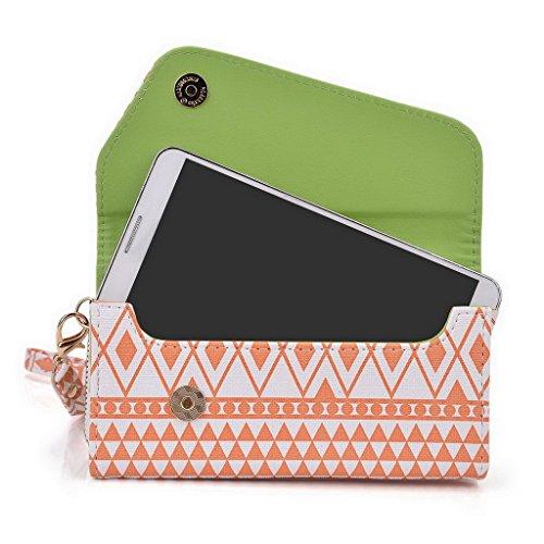 Kroo Pochette/étui style tribal urbain compatible avec Samsung Galaxy Note 3 Multicolore - jaune Multicolore - White and Orange