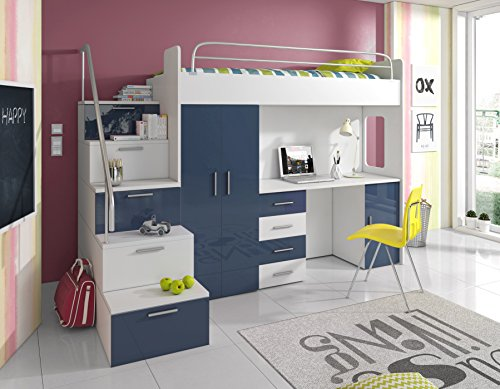 Weiß Schreibtisch Schrank (Furnistad Kinderzimmer Komplett Sky | Kinder Hochbett mit Treppe, Schreibtisch und Schrank (Option links, Weiß + Blau))