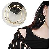 Grandi orecchini Aifeer a cerchio, con clip per orecchie non forate, orecchino semplice e rotondo in acciaio, per donne ragazze e base metal, colore: Gold 7cm, cod. FS-EJ10-G70