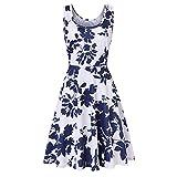 MOIKA Damen Blumenkleid, New Frauen-Sleeveless Druck-Sommer-Strand-Eine Linie beiläufiges Kleid-Blumenkleid (Weiß-C, EU 44/L)