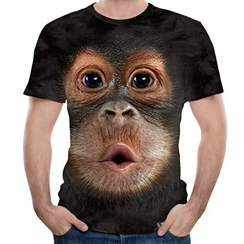 KIMODO Herren 3D Drucken Rundhals T-Shirt Kurzarm Frühling Sommer Top Bluse Freizeit Shirt für Männer Große Größen -