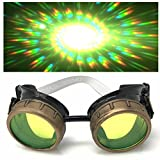 Steampunk Brille mit UV-Licht glow in der Dunkelheit Neon Grün Spirale Beugung Gläser Rave Kostümzubehör Musikfestival Punk Cyber Gothic partybrille