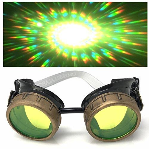 (Steampunk Brille mit UV-Licht glow in der Dunkelheit Neon Grün Spirale Beugung Gläser Rave Kostümzubehör Musikfestival Punk Cyber Gothic partybrille)