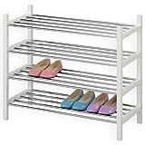 IDIMEX Schuhregal Schuhablage Schuhständer RESA, mit 4 Böden in weiß lackiert, verchromte Metallrohre, stapelbar