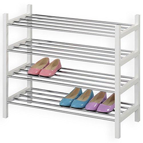 IDIMEX Schuhregal Schuhablage Schuhständer RESA, mit 4 Böden in Weiß Lackiert, verchromte Metallrohre, stapelbar (Stapelbare Schuhregal)
