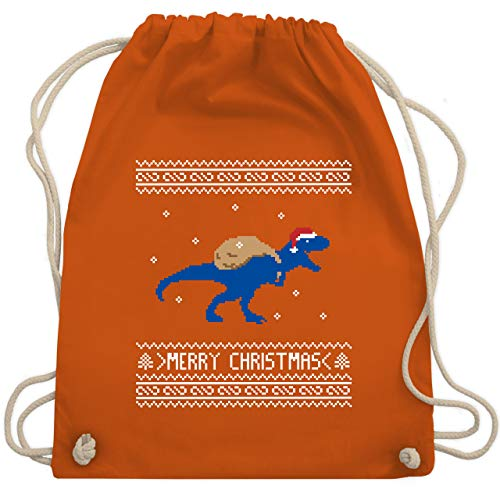 Weihnachten Kind - Ugly Christmas I T-Rex Merry Christmas - Unisize - Orange - WM110 - Turnbeutel & Gym Bag (Weihnachten Idee Hässlich Pullover)