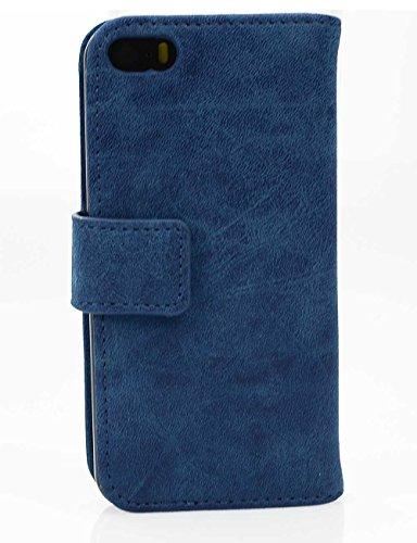 Custodia iPhone 5s, Custodia SE Portafoglio, SsHhUu PU Leather Case [Slot per schede] in Pelle Morbida Protettiva Flip Chiusura Magnetica Portafoglio Cover Case per Apple iPhone 5s / 5 / SE (4.0) Blu Blu