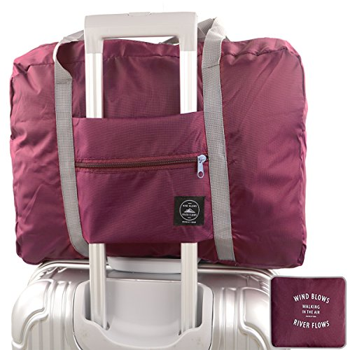 Foldable Travel Duffel Bag,Charminer Waterproof Travel Storage,Sports Gym Overnight Clothes Suitcase Organiser Packing Bag,Water Resistant Nylon Can Attach On The Handle Of Luggage WINE RED