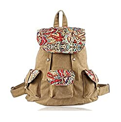 Female Travel Backpack National Trend Canvas Backpack, Female Preppy Style Backpack Vintage Print Travel Bagschool Backpack