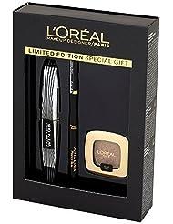 L'Oréal Paris Coffret Maquillage cadeau Collection Noël mascara papillon + super Liner + Fard color riche l' ombre pure 205