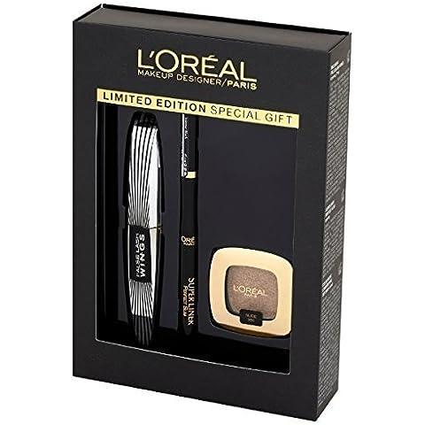 l'Oréal Paris Caja Maquillaje regalo Colección Noel máscara de pestañas mariposa + super Liner + sombra de ojos color riche l' Sombra de ojos puro