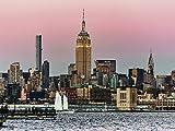 Artland Qualitätsbilder I Wandtattoo Wandsticker Wandaufkleber 80 x 60 cm Städte Amerika Newyork Foto Rot B7SR Sonnenuntergang in New York