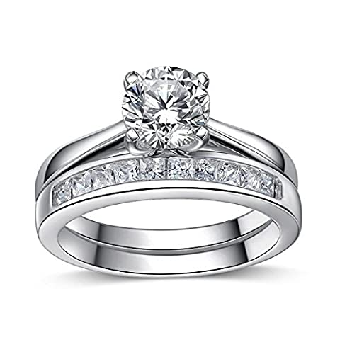 925 Sterling Silver Brilliant Diamond Cut Crystals Accent Love Forever Eternity Engagement Wedding Rings For Women With Gift Box, Ideal Gift. (M)