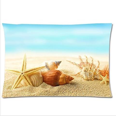 2015 New Good Quality 50x76CM Cotton Pillowcase/Kissenbezüge For Lover Summer Seashells Starfishes Sand Beach Bedding Set Decorative Soft Zippered Pillow case/Kissenbezüge
