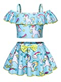 AmzBarley Unicorno Costumi a Due Pezzi da Ragazze Bambina Costume da Bagno Mare Piscina Nuoto Nuotare Abbigliamento da Spiaggia Tankini Bikini Carnevale Costume