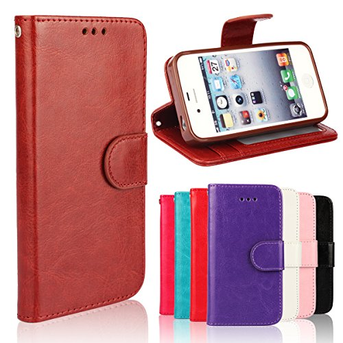 iPhone 4/4S Case, [Wallet Function] [Stand Feature] Vintage Crazy Horse Premium Leather Case, Flip Folio Book Cover with Magnetic Closure [Cash Pocket & 3 Credit Card Holders] (Brown) Pink