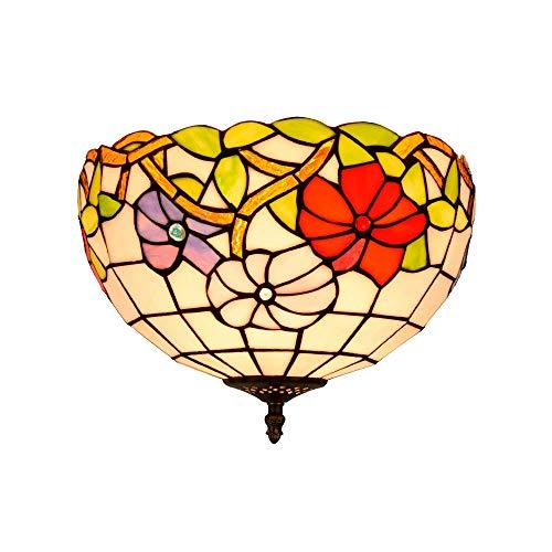 Qwey Tiffany Deckenleuchte mediterranen Glas Lampenschirm Unterputz Deckenleuchte, 2 Lampen 12 Zoll Gang Wohnzimmer Korridor Schlafzimmer Esszimmer,110V -