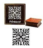 Printtoo Brown Square Holz Stempel Blattmuster Handwerk Textilien Briefmarken-2 x 2 Zoll