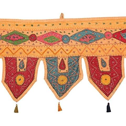 Colgante tradicional Décor casero bordada remiendo Peach Puerta