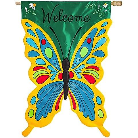 Bienvenido Sculpted aplique mariposa colorida casa bandera