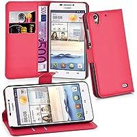 Huawei G630 Hülle in ROT von Cadorabo - Handyhülle mit Kartenfach und Standfunktion für Huawei G630 Case Cover Schutzhülle Etui Tasche Book Klapp Style in KARMIN ROT