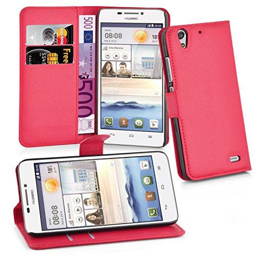 Preisvergleich Produktbild Cadorabo Hülle für Huawei ASCEND G630 - Hülle in KARMIN ROT – Handyhülle mit Kartenfach und Standfunktion - Case Cover Schutzhülle Etui Tasche Book Klapp Style