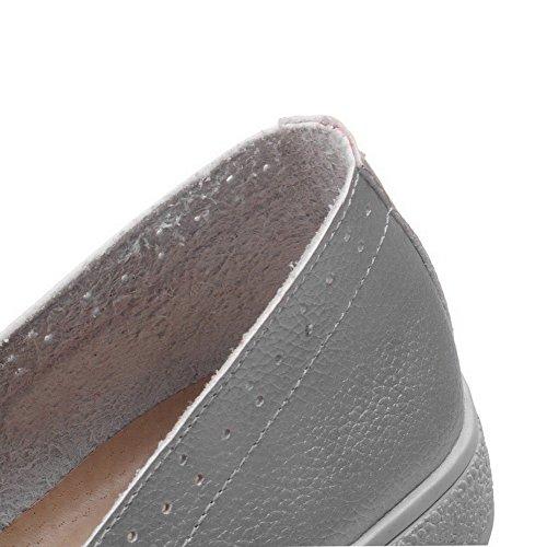 AgooLar Femme Pu Cuir Couleur Unie Tire Rond à Talon Bas Chaussures Légeres Argent