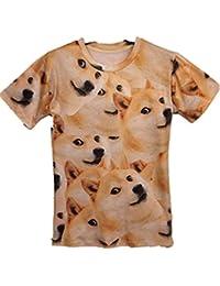 Ninimour Unisex-Oberteil/T-Shirt, Motive: Hunde, Katze, Muster, Rundhals, kurzarm