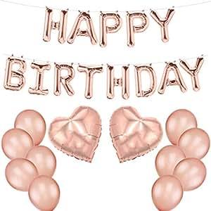 ballonfritz® Luftballon-Set Happy Birthday -Schriftzug, Herz und 10 Ballons in Rosegold - XXL Folienballons als Geburtstags, Begrüßung, Party oder Überraschung-Geschenk und Latexballons zur Deko