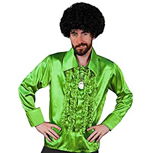 I Love Fancy Dress ILFD4603M Camisa setentera en color verde fosforito típica de los años 70, talla S