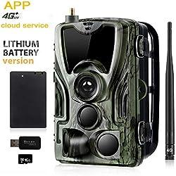 SUNTEKCAM Aplicación de teléfono Servicio en la Nube 4G Cámara de Caza 20MP 1080P Vida Silvestre Cámara IP66 Cámara de Caza Caza de visión Nocturna Invisible (batería de león 5000mAh*2) 801LTELIAPP