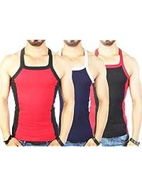 Zimfit Men's Gym Vest Pack Of 3 (Red_Navy_Black)