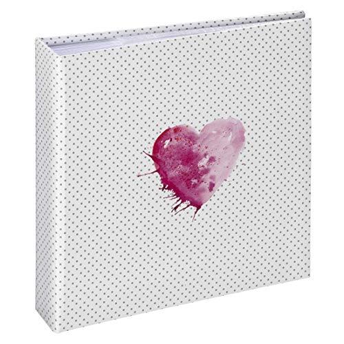 Hama Einsteck-Fotoalbum Lazise, Memo-Album mit 100 Seiten, zum Einstecken von 200 Fotos im Format 10x15, Aquarell Herz Motiv, 22,5x22, Einsteckalbum Fotobuch pink