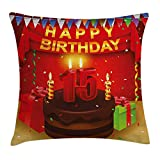 15th Birthday Throw Pillow Cushion Cover, Teenage Party Set up with Colorful Flags Ribbons Balloons And Creamy Cake, Decorative Square Accent Pillow Case, 18 X 18 Inches, Multicolor