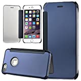 xifanzi Mirror Surface Flip Case for iPhone 5S/SE/5 Blue Folio Transparent Clear Plastic Back Cover Bookstyle Ultra Slim Fit Crystal Smooth Grip Durable Protection Cell Phone Cases and Covers for Apple iPhone SE/5S/5