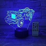 Luce notturna 3D Regalo a 7 colori Jeep Truck Luce notturna per auto USB Touch Telecomando Pannello acrilico Tomba Cambia atmosfera Regali da tavola