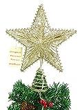 """10 """"elástico estrella Champagne Con luces LED blanco cálido - Christmas Tree Top Star / Decoración de Navidad"""
