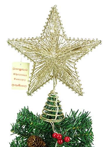 10 'elástico estrella Champagne Con luces LED blanco cálido - Christmas Tree Top Star / Decoración de Navidad