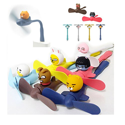 Kakao Friends Mini Elektrischer USB Ventilator ,Tragbarer Handventilator, Mini Handventilator Kleiner Lüfter, Elektrisch Wiederaufladbar (RYAN)