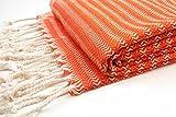 ZusenZomer Telo Mare Fouta 95x190 MYSTY Arancione - Telo Hammam Grande e Lussuosa - con Disegno Fine a Spina di Pesce - 100% Cotone di alta qualità - Fouta Teli Mare Commercio Equo