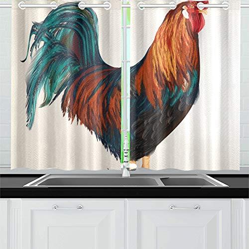 JOCHUAN Hoch detaillierte realistische Hahn Küche Vorhänge Fenster Vorhang Ebenen für Café Bad Wäscherei Wohnzimmer Schlafzimmer 26 * 39 Zoll 2 Stück (Hahn Küche Vorhänge)