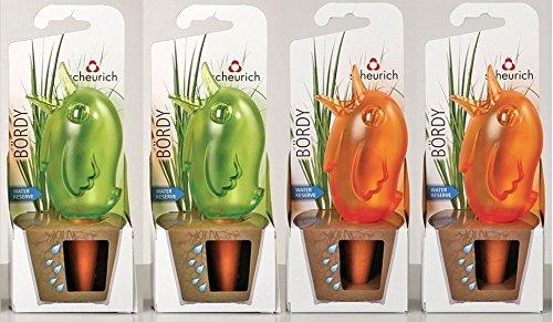 """Wasserspender, Bewässerungskugel, 4er Set \""""Bördy\"""" in verschiedenen Farben und Größen (15 cm, Grün / Orange)"""