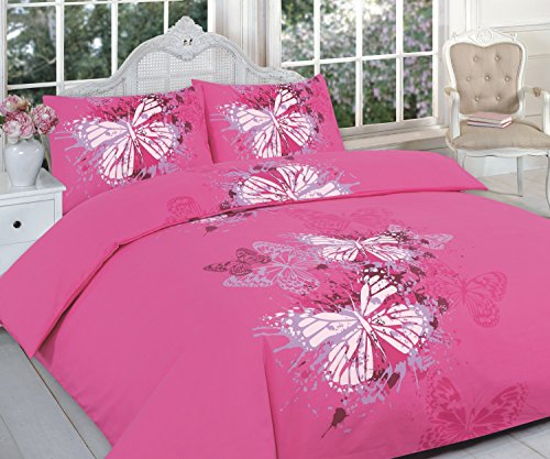 Maria Luxus Bettwäsche & Bettwäsche Hotel Qualität Super King Größe Bedruckt Schmetterling Pink Design Bettbezug Set Bettwäsche-Set mit Kissenbezügen – Super King Size