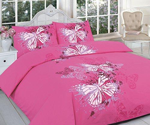 Maria Luxus Bettwäsche & Bettwäsche Hotel Qualität Super King Größe Bedruckt Schmetterling Pink Design Bettbezug Set Bettwäsche-Set mit Kissenbezügen–Super King Size