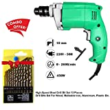 #4: Power Tools- Electric Drill Machine 10MM - *, 2600 Rpm, 220V- 50Hz with 13-pcs Drill Bits Set | Indutrial Combos | Drill Machine Set | industrial drilling machine | drill bits set | electric drill machine | drill machine tool kit | drill machine combo |