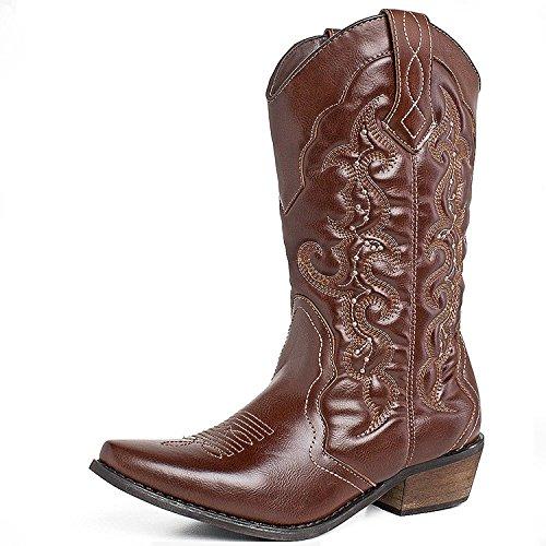 SheSole Damen Halbschaft Stiefel Braun 42 - Western-stiefel Mädchen Größe 13
