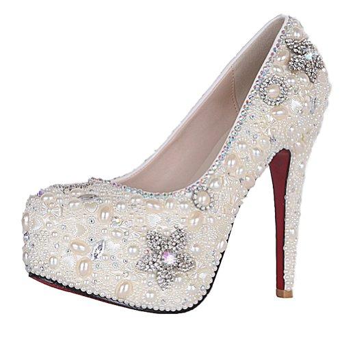SEXYHER Atemberaubende Perle Dachte Plattform 4,5 Zoll High Heels Hochzeit Schuhe - SHO168820 (Heels Hochzeit Perlen)