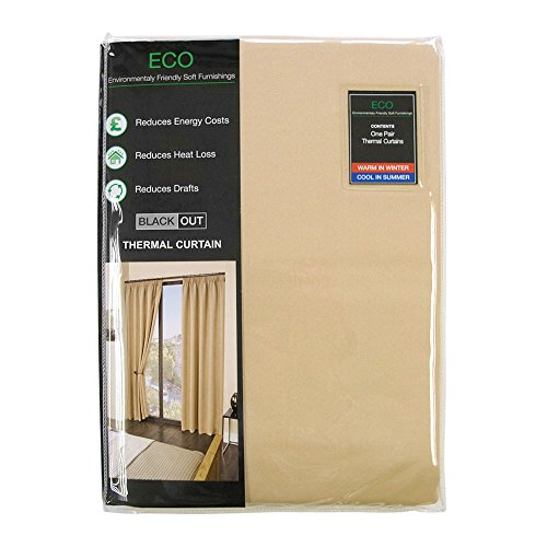 "Luxury Thermal Supersoft Blackout Curtains Natural/Cream 90"" x 90""(229cm x 229cm)"